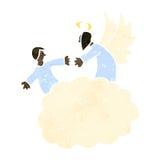 Retro- Karikaturengel auf Wolke Lizenzfreie Stockfotografie