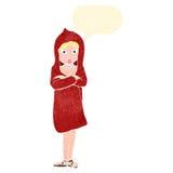 Retro- Karikaturfrau im roten mit Kapuze Mantel Stockfoto