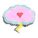 Retro- Karikaturliebe geschlagen, Wolkensymbol beleuchtend Lizenzfreies Stockbild