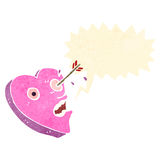 Retro- Karikaturliebe verletzt Herzcharakter Stockfotos