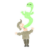 Retro- Karikaturmann besessen durch Geist Stockfotografie