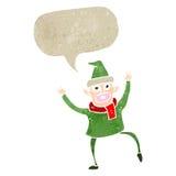 Retro- Karikaturtanzen-Weihnachtselfe Stockbild