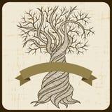 Retro karta z abstrakcjonistycznym fryzowania drzewem ilustracja wektor