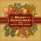 Retro- Karte der frohen Weihnachten Stockfotos