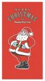 Retro- Karte der Weinlese Weihnachts Altmodische Santa Claus, die auf dem roten Hintergrund lächelt Stockfoto