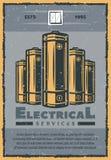 Retro- Karte des elektrischen Services von elektrischen Versorgungen Lizenzfreies Stockbild