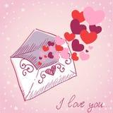 Retro- Karte des Liebesbrief-Valentinsgrußes Stockfotos