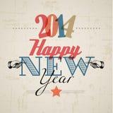 Retro- Karte 2014 des neuen Jahres Stockfotos