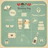 Retro- Karte Hochzeits-Einladung Infographics Stockfoto