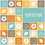 Retro- Karte mit Blumen in farbigen Quadraten stock abbildung