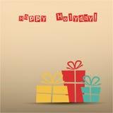 Retro- Karte mit Geschenken, Knickente, Gelb, rot Stockfotografie