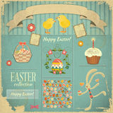 Retro Karte mit Ostern-Set Stockbilder