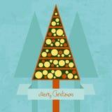 Retro kartka bożonarodzeniowa Zdjęcia Stock