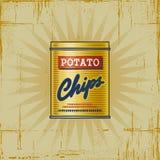 Retro- Kartoffelchips können Stockbilder