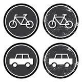 Retro- Kennsatz des Fahrrades und des Autos stock abbildung