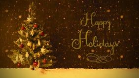 Retro Kerstboom, Sneeuw, Kalligrafie Gelukkige Vakantie, Sneeuwvlokken Stock Fotografie