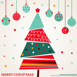 Retro Kerstkaart met boom en ornamenten Stock Foto