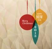 Retro Kerstkaart met Kerstmisdecoratie Stock Afbeeldingen