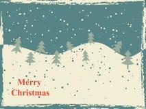Retro Kerstkaart met sneeuwheuvels en bomen Stock Afbeeldingen