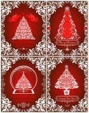Retro Kerstmis die rode kaarteninzameling met verwijderde document engelen, bloemen uitstekende grens, Kerstboom en bol begroeten royalty-vrije illustratie