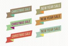 Retro Kerstmis en de de nieuwe banners en markeringen van de jaarverkoop stock illustratie