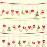 Retro Kerstmis Garland Background Stock Foto