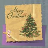 Retro Kerstmisboom Royalty-vrije Stock Afbeelding