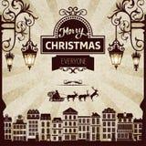 Retro Kerstmiskaart Stock Afbeelding