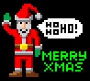 Retro Kerstmiskerstman van de pixelkunst Stock Fotografie