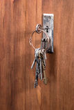 Retro key on the bunch is inserted into the keyhole Royalty Free Stock Image