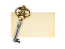 Retro key on paper card Royalty Free Stock Image