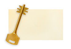Retro key on paper card Stock Image
