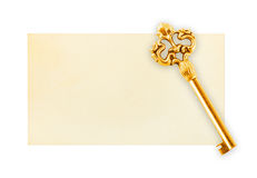 Retro key on paper card Royalty Free Stock Images