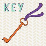 Retro key with ribbon Royalty Free Stock Photos