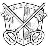 Retro key and shield security drawing. Doodle style antique security coat of arms or herald with shield and key illustration in vector format Stock Photos