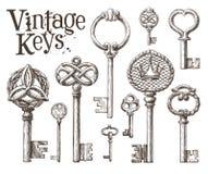 Retro key vector logo design template. antiques or Stock Photos