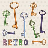 Retro keys collection Stock Photo