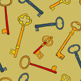 Retro keys colorful seamless pattern Royalty Free Stock Images