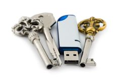 Retro keys and computer flash drive Royalty Free Stock Image