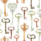 Retro keys seamless pattern. Antiques key cover for your design. Hand painted illustration on white background Stock Photography