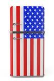 retro k hlschrank mit der usa flagge auf der t r. Black Bedroom Furniture Sets. Home Design Ideas