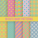 Retro kids vector seamless patterns. Endless. 10 Retro baby vector seamless patterns. Endless texture for wallpaper, fill, web page background, surface texture vector illustration