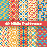 Retro kids vector seamless patterns. Endless. 10 Retro kids vector seamless patterns. Endless texture for wallpaper, fill, web page background, surface texture royalty free illustration