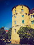 Retro kijk Altes Schloss (Oud Kasteel), Stuttgart Royalty-vrije Stock Afbeeldingen