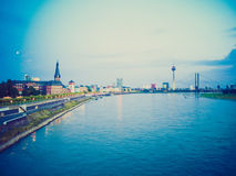 Retro kijk Duesseldorf, Duitsland Royalty-vrije Stock Foto's