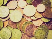 Retro kijk Euro muntstukkenachtergrond Royalty-vrije Stock Foto's