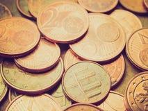 Retro kijk Euro muntstukkenachtergrond Stock Fotografie