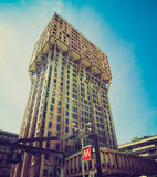 Retro kijk Torre Velasca, Milaan Stock Foto