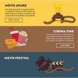 Retro kina i filmu premiera festiwalu sieci sztandary ilustracji