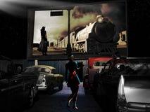Retro- Kino der geöffneten Luft Stockfoto